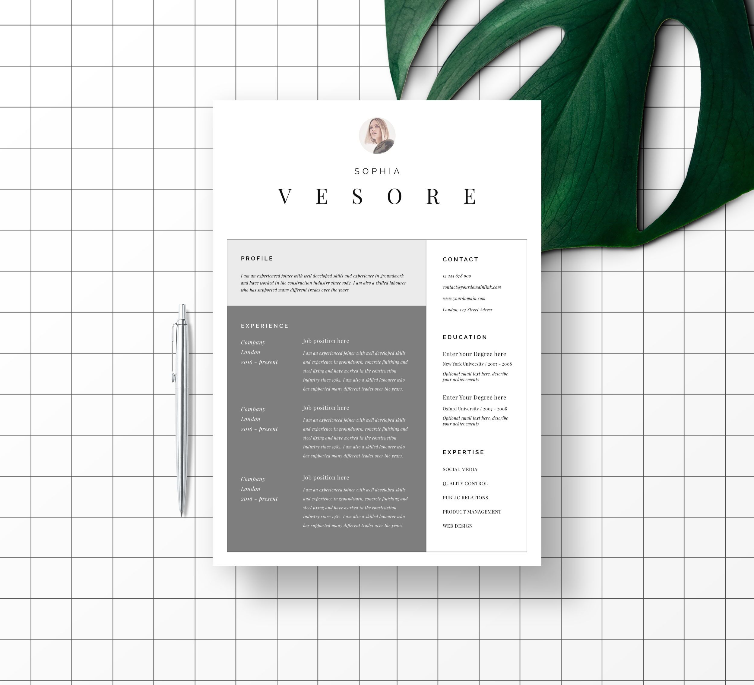 modern resume template with photo for word  u0026 pages