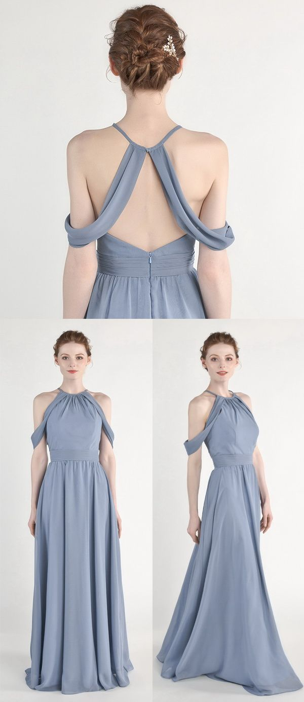 Floor length halter bridesmaid dress with open back tbqp
