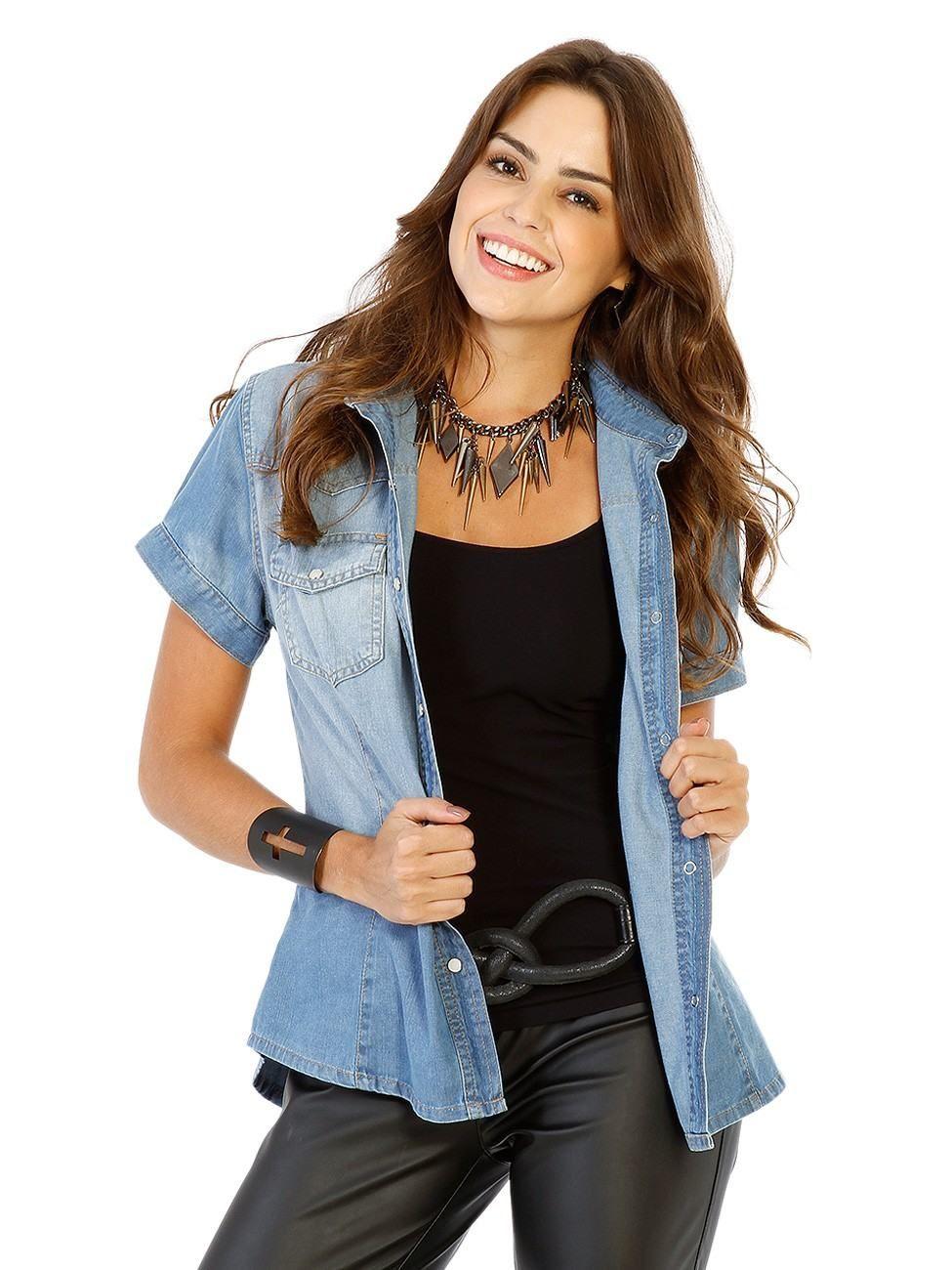 9657c0274 Resultado de imagem para looks camisa jeans manga curta feminina ...