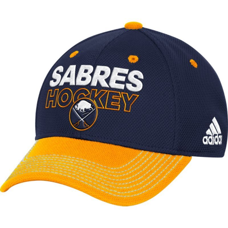outlet store 41cae 996f4 adidas Men s Buffalo Sabres Locker Room Navy Structured Fitted Flex Hat,  Size  L XL, Team