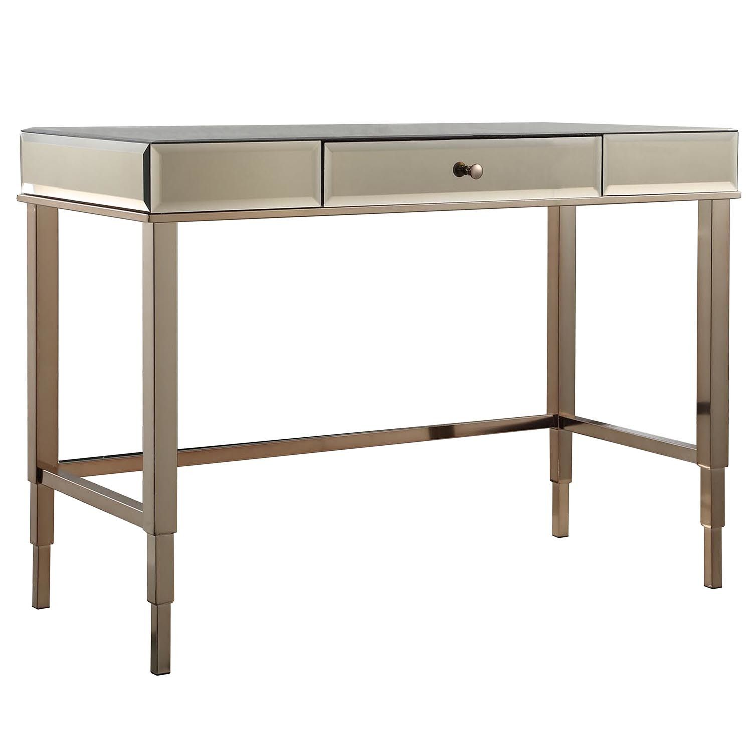 Braelyn Mirrored Writing Desk Desk Mirror Brass Desk Furniture