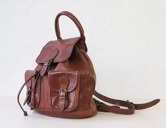 2f21ba294a675 Cognac brown thick leather backpack medium size drawstring by founditgreat  Women s fashion accessories bags