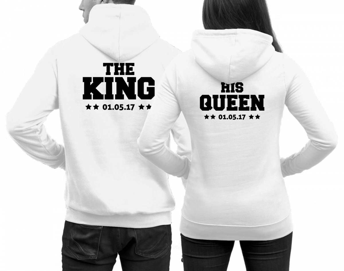 Pärchen Pullover The King His Queen mit Datum Weiß in 2020