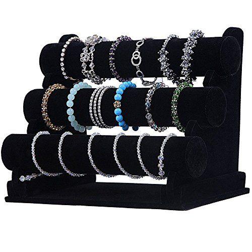 Wuligirl 3 Tier T-Bar Jewelry Display Stand Necklace Bangle Bracelet Organizer Watch Display Velvet, Black/Ice Grey | Beautiful Cool Jewelry