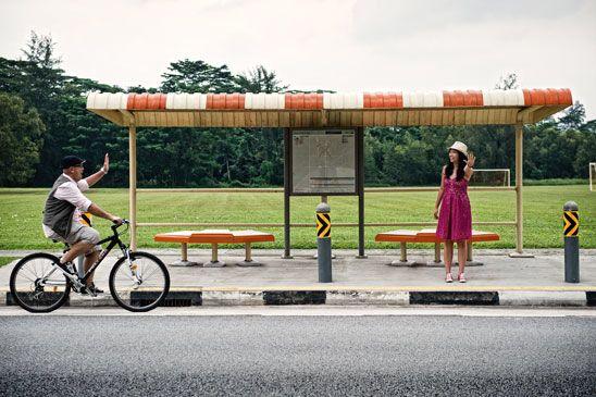 Old School Bus Stop Fotografi