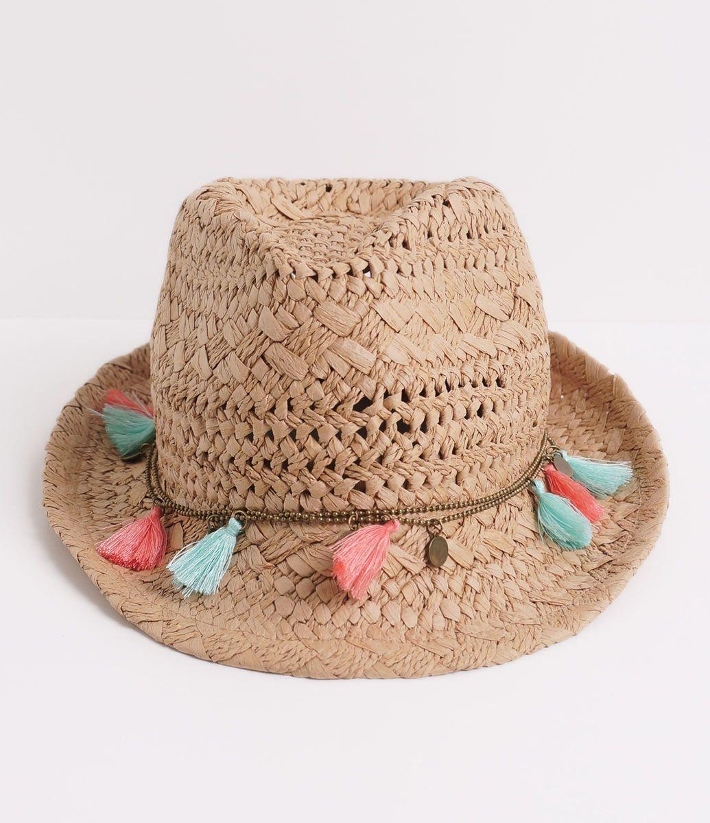 1dfeaa537446a Chapéu feminino Modelo fedora De praia Tramado Com tassel Marca  Bossa  Nossa Material  papel