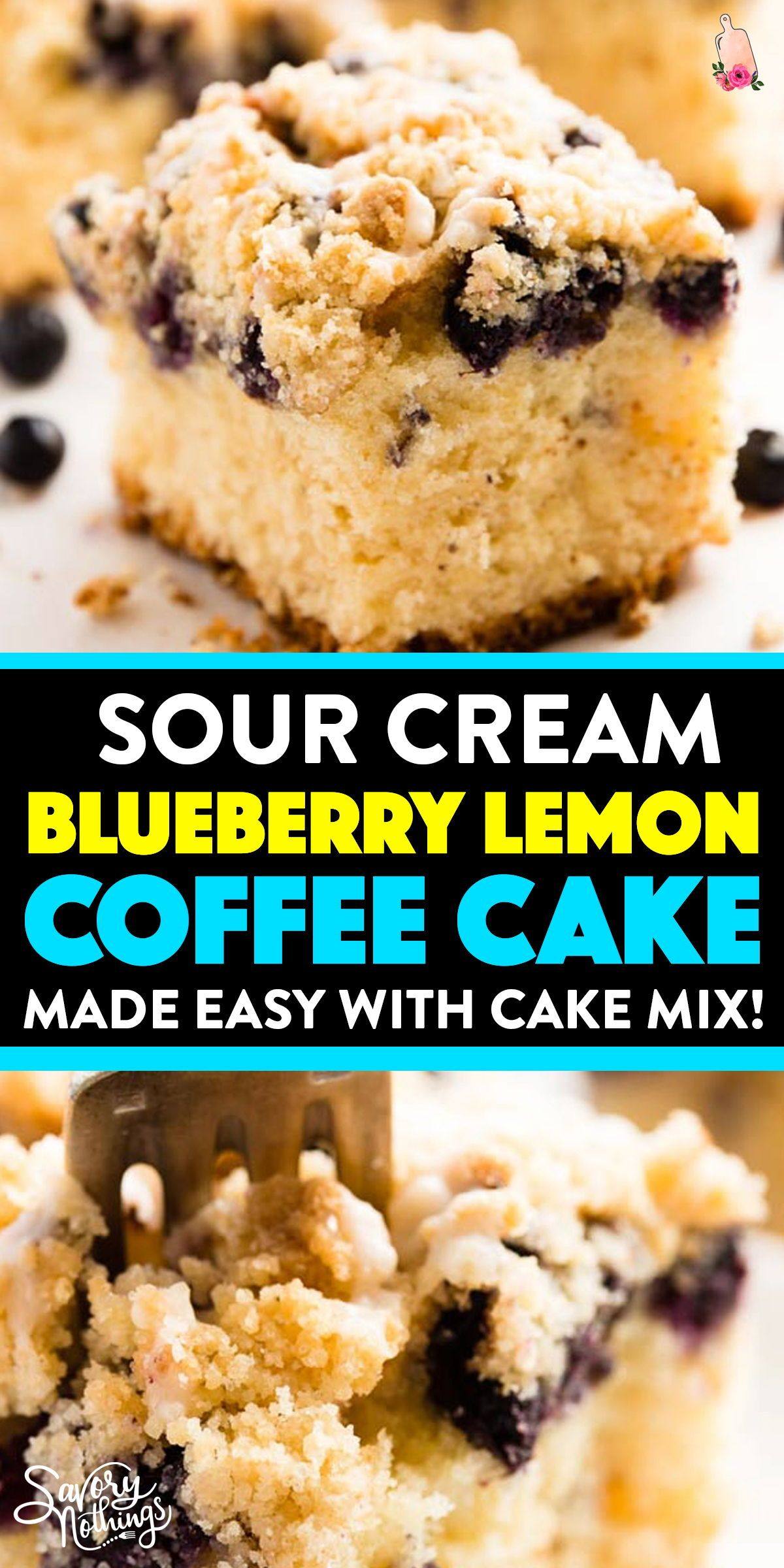 Blueberry Lemon Coffee Cake Made With Cake Mix You Won T Believe How Delicious This Turns Out Al In 2020 Blueberry Coffee Cake Lemon Blueberry Sour Cream Coffee Cake