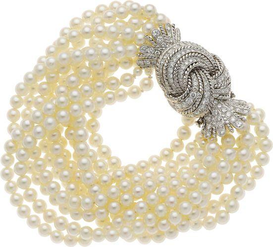 Estate Jewelry:Bracelets, Diamond, Cultured Pearl, Gold Bracelet. ...