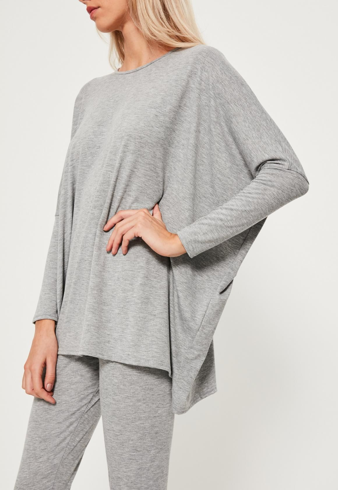 7eee3bf3 Missguided - Grey Jersey Oversized Loungewear Set | OH . BED ...