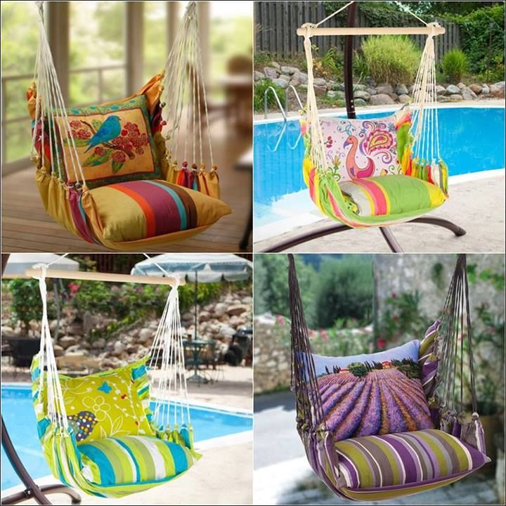 Hammock Pillow Seats with Exquisite Prints for Your Garden ! Furniture Removal Companies in UK www.theremoval.com #London #Uk #Unitedkingdom #House #interiordesign #interiordecor #interior #interiordecoration #interiordecorating