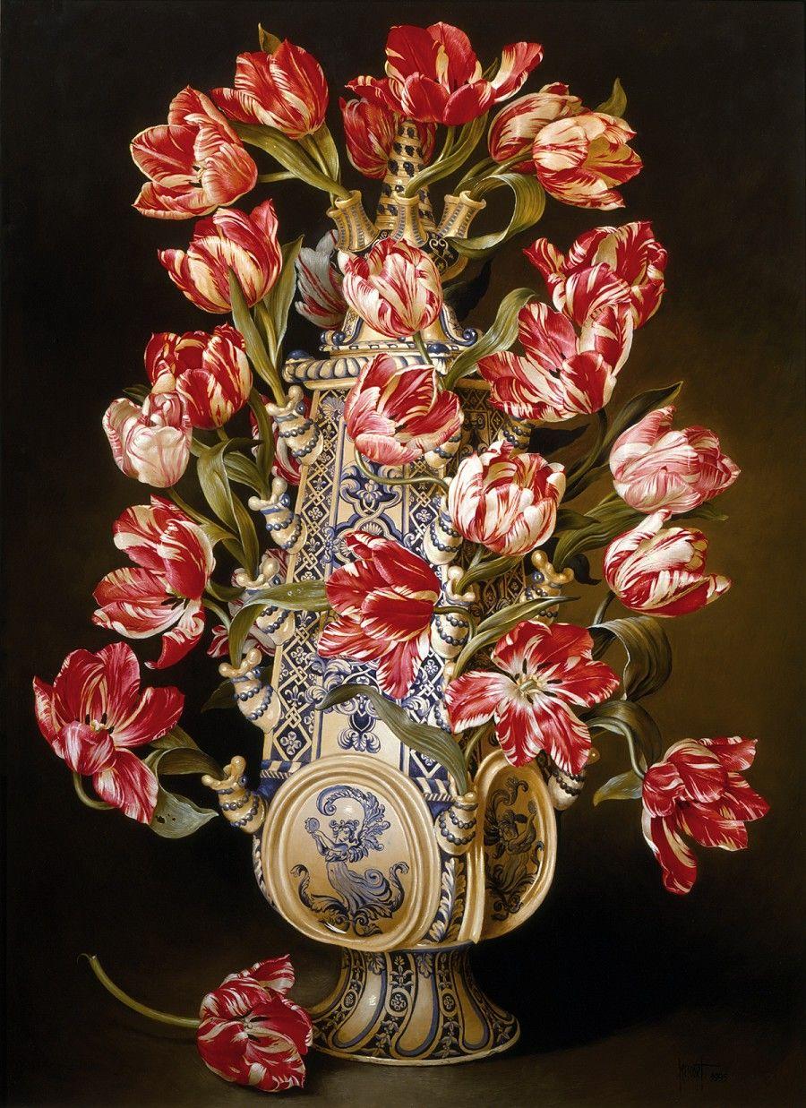 Lminas vintageantiguasretro y por el estilo oil canvases century dutch tulip vase with rembrandt tulipsartist unknown reviewsmspy