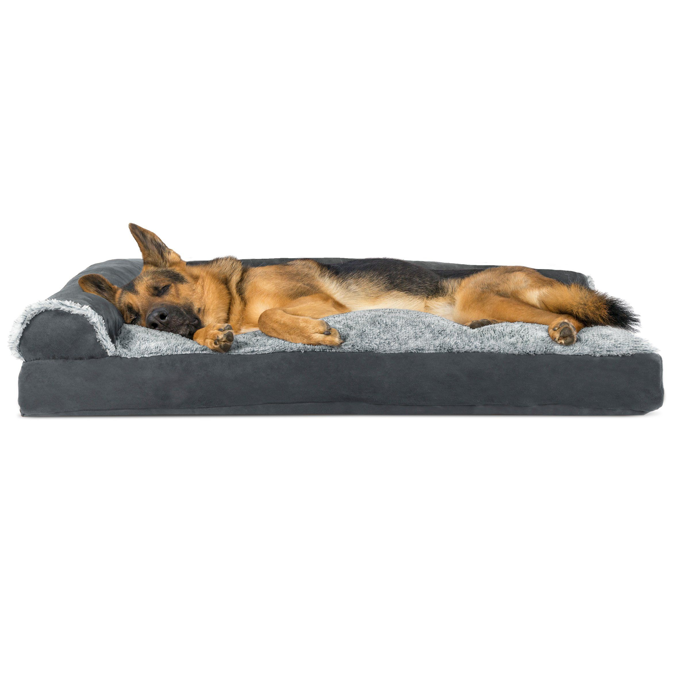 Furhaven Pet Dog Bed Faux Fur And Suede Lshaped Chaise Lounge Pillow Sofastyle Pet Bed For Dogs And Cats Stone Gray Jumbo Dog Pet Beds Lounge Pillow Pet Bed