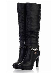 Trendy Black Stiletto Heel Comfortable PU Knee High Boots: tidestore.com