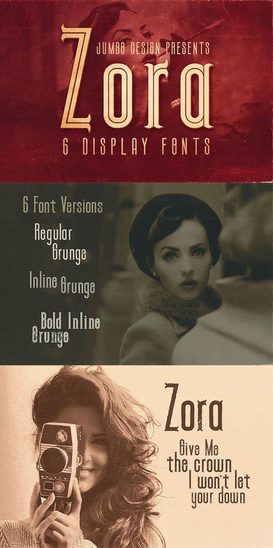 Zora Vintage Display Font By Cruzine On Envato Elements In 2020 Vintage Display Fonts Vintage