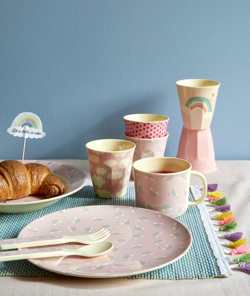 Set Of 6 Small Melamine Kids Cups Pink Rainbow Prints Rice Dk Kids Tableware Kids Melamine Kids Cups