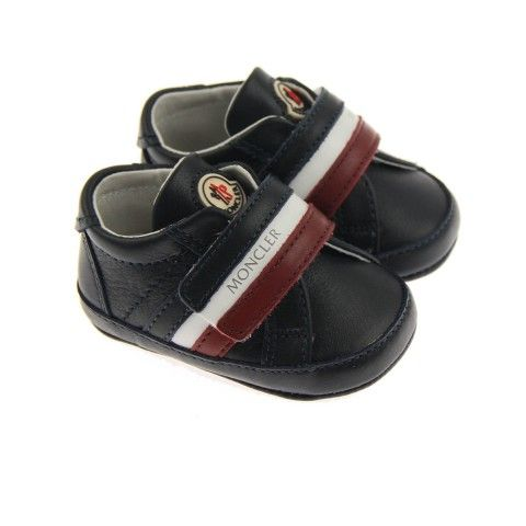 Moncler Baby Boys Navy Leather Pre Walker Trainers