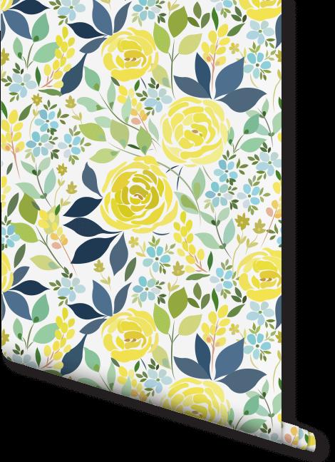 lemon-floral-floral-wallpaper-yellow