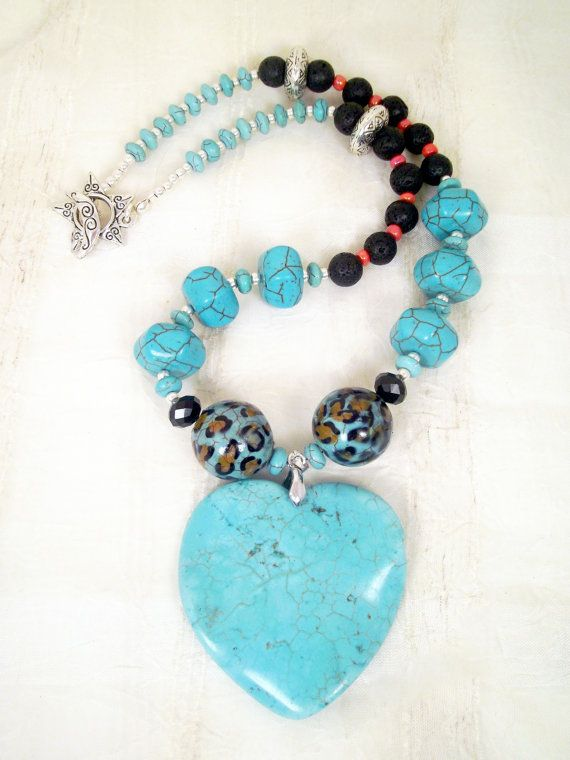 Turquoise howlite freeform heart hexagon by TashinkaBeadingHeart, I Heart Turquoise on etsy.com: $50.00