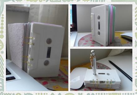 Bloco de anotações com fita cassete, feito por mim!!! <3