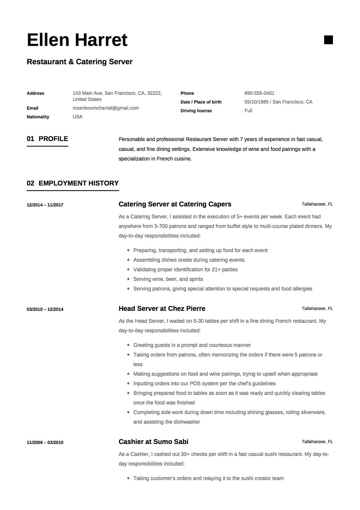 Resume Employment History Restaurant And Catering Resume Sample Example Template Cv