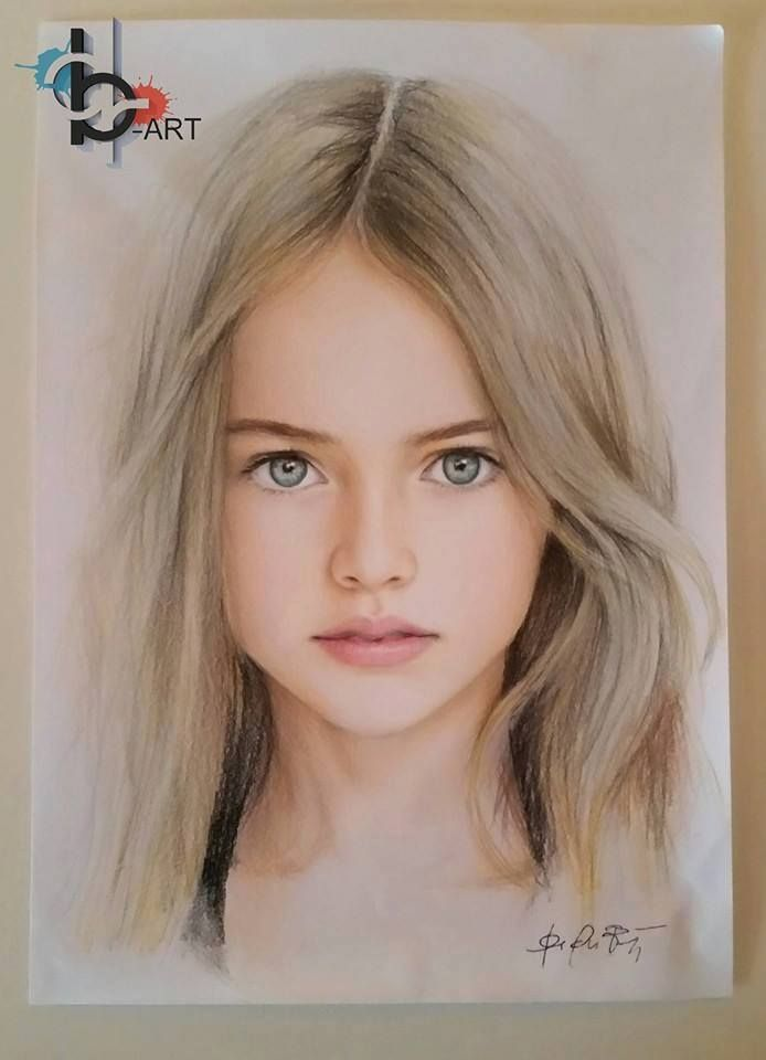 Beautiful baby girl portrait blue eyes realistic drawings female drawings faces children art