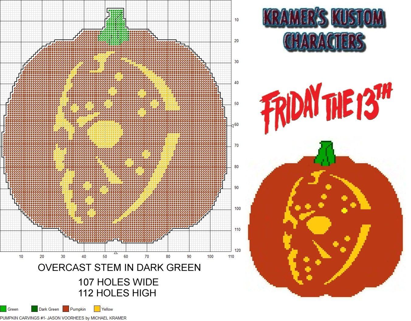 Pumpkin carvings jason voorhees plastic canvas pattern