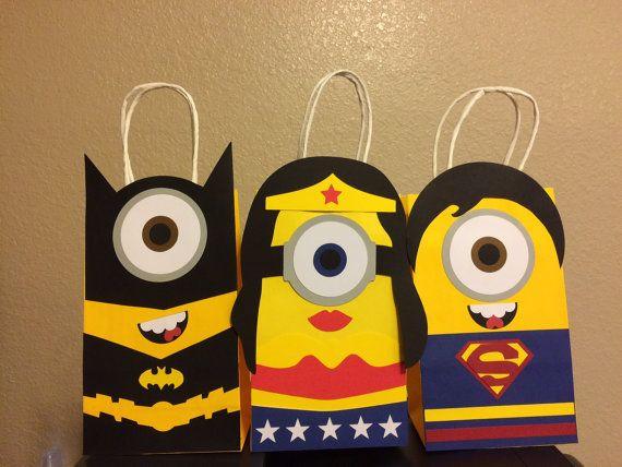 Batman Minion/Wonder Woman Minion/Superman Minion Party Favor Bags/Treat Bags