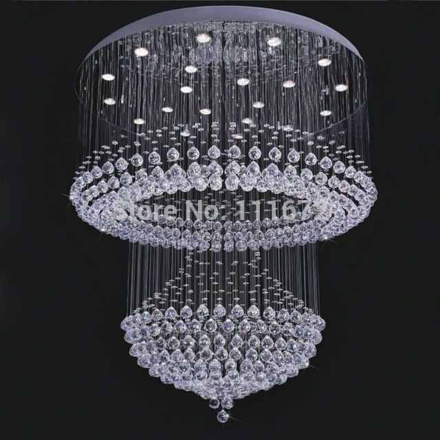 New Modern Crystal Lamp Large Crystal Chandeliers Lustres Foyer Chandeliers Led Light Modern Crystal Chandelier Modern Foyer Chandelier Design