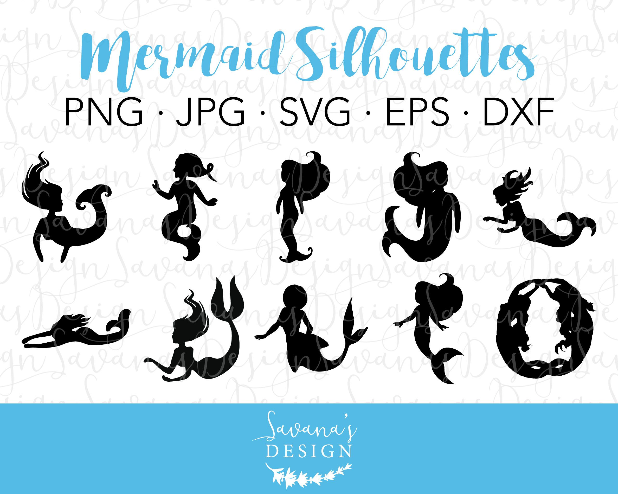 New Mermaid SVG Files! silhouette clipart cutfile
