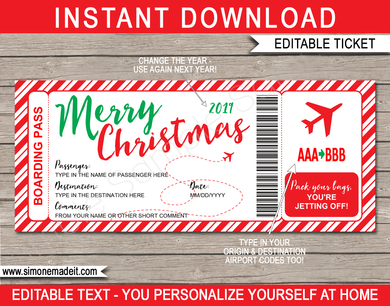 Christmas Plane Boarding Pass Gift Template Fake Plane Gift Ticket Boarding Pass Template Surprise Trip Reveal Christmas Travel