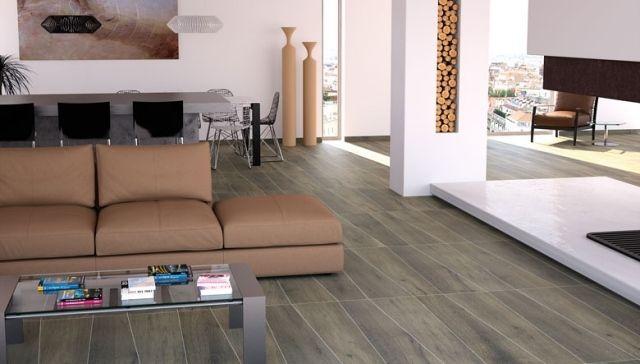 Wohnzimmer Fliesen Modern Holzoptik Asymmetrische Linien