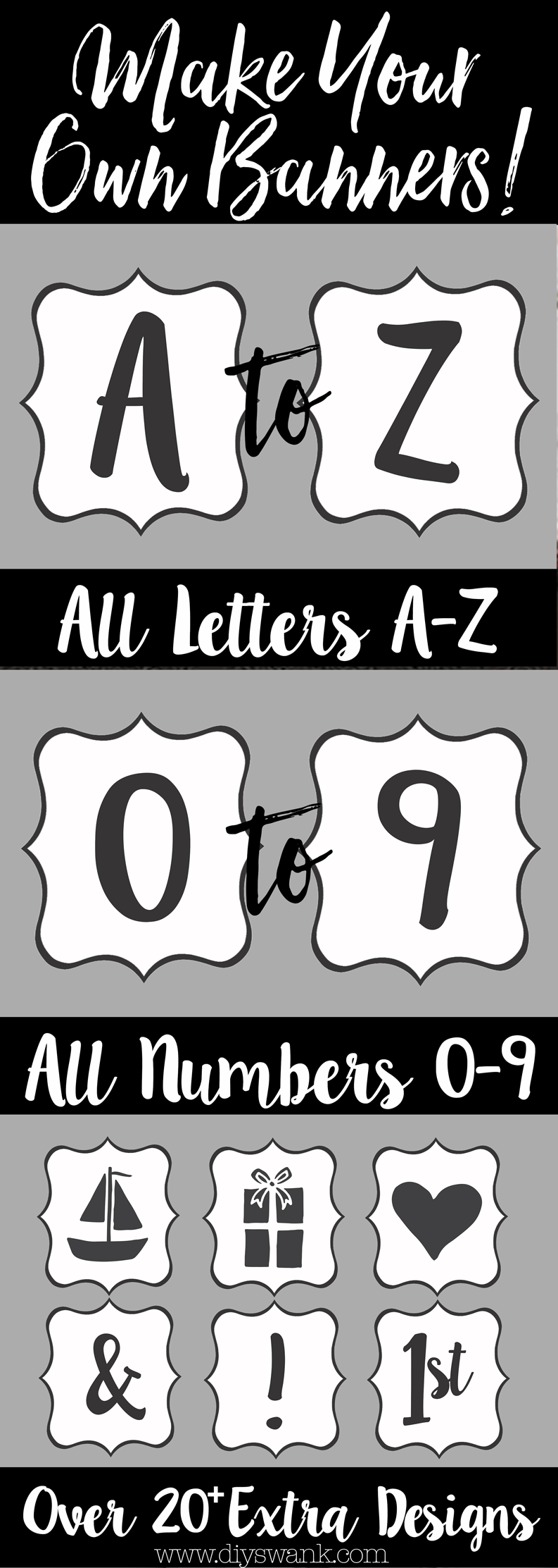 printable banner letters! all letters a-z, number 0-9 and 20 extra