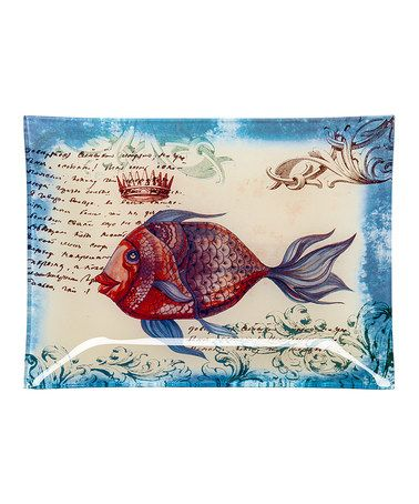 Love this Fish & Script Glass Plate on #zulily! #zulilyfinds