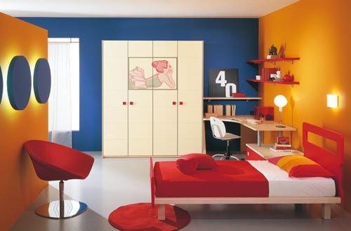 Blue And Orange Bedroom Decor Modern Kids Room Kids Interior