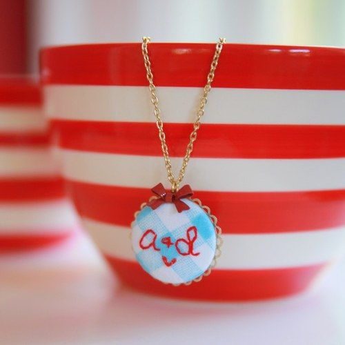 Custom Sweetheart Initials Hand Embroidered Necklace $32