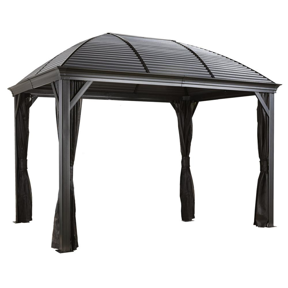 Sojag 10 Ft D X 14 Ft W Moreno Aluminum Gazebo With Galvanized Steel Roof Panels 2 Track System And Mosquito Netting 500 8162349 The Home Depot In 2020 Aluminum Gazebo Steel Roof Panels Steel Gazebo