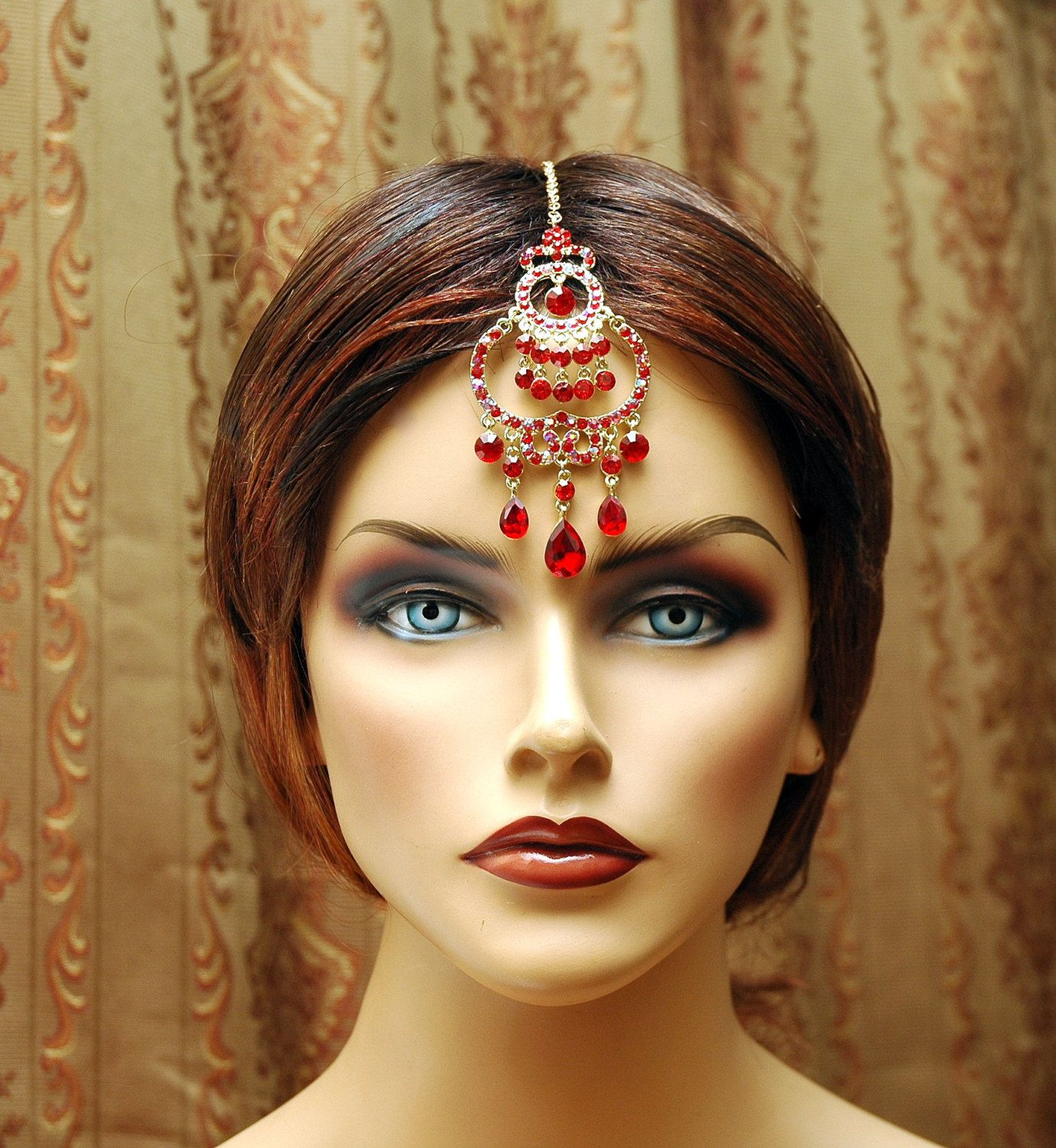 indian wedding hairstyle gallery%0A Maang Tikka Headpiece  Gold Indian Jewelry  Bollywood Red Crystal  Headpiece  Chain Headpiece