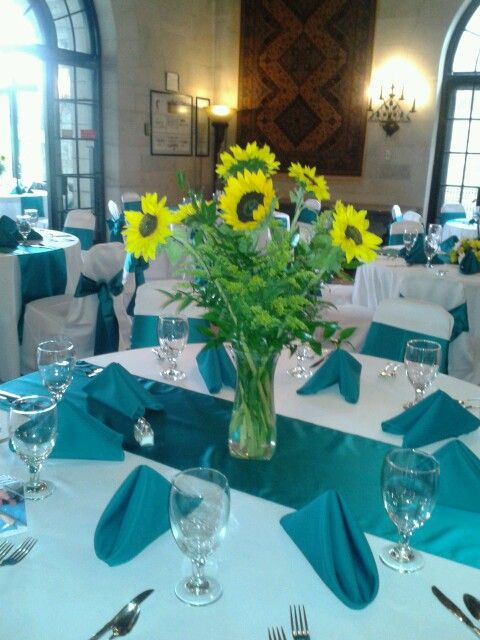 Lovely Sunflower Yellow And Teal Wedding Centerpieces