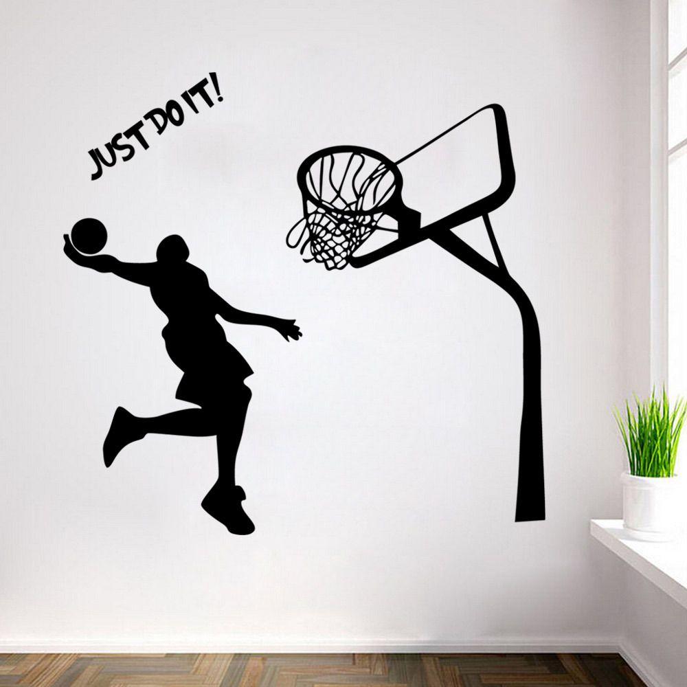 michael jordan decal wall sticker art home decor basketball poster rh pinterest com au