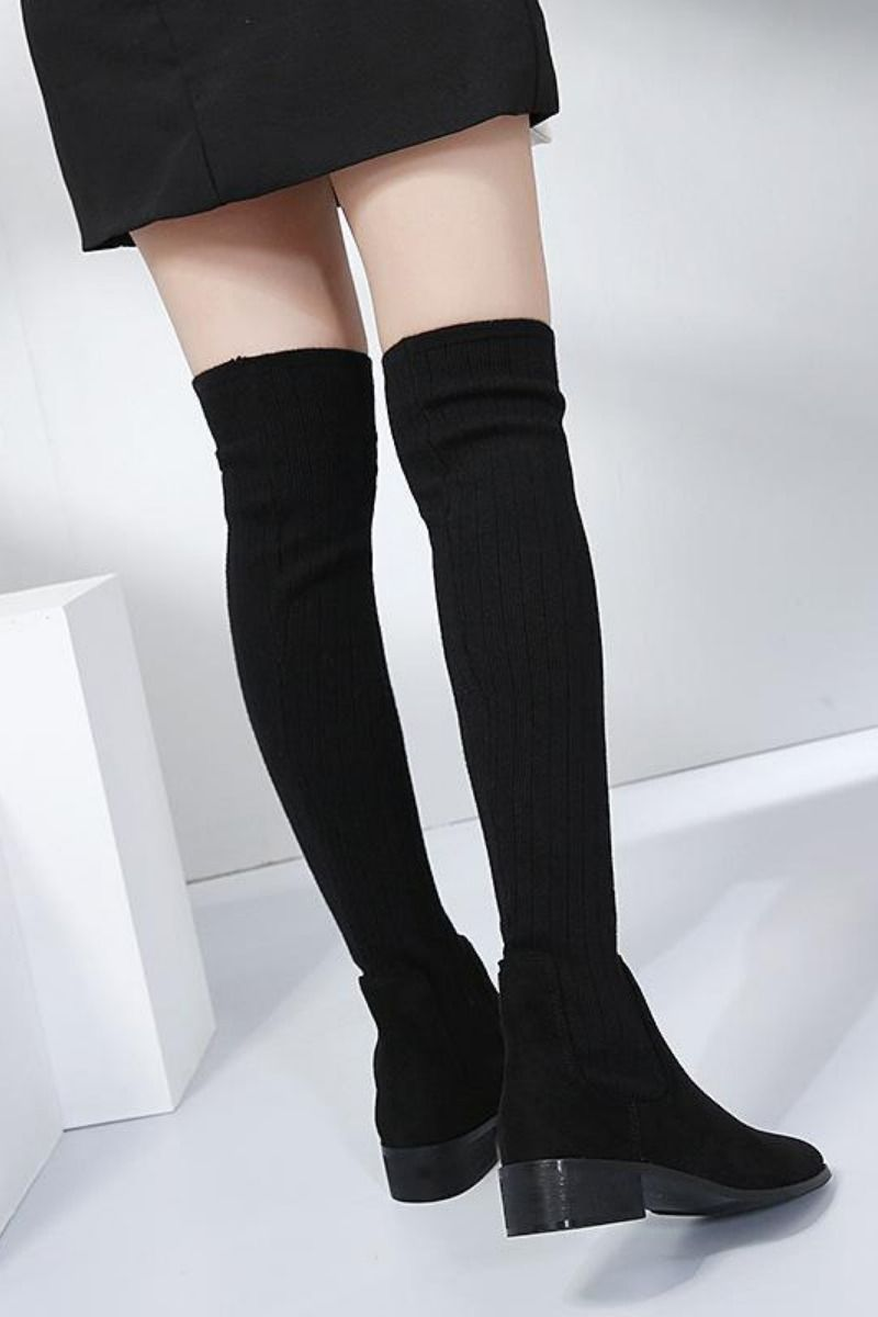 Knee High Boots Round Toe High Heel Sock Boots For Women Socks And Heels Black Knee High Boots Womens Boots
