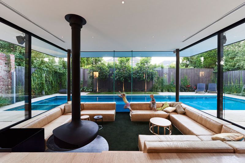 Swimming Pool House Featuring a Sunken Living Room ...