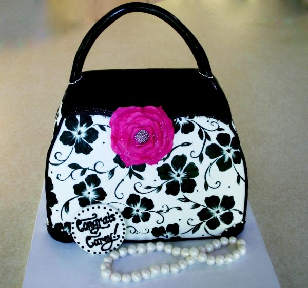 Handpainted purse cake with jeweled sugar flower and edible pearls