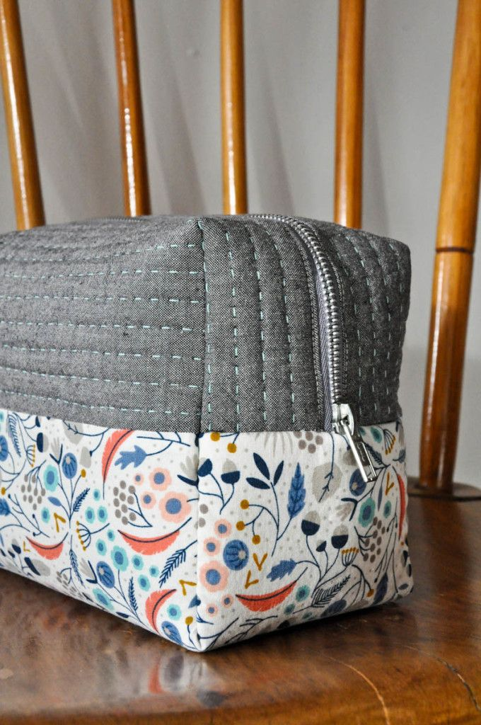 Boxy Cosmetic Bag with Sashiko stitching Cosmetic bag
