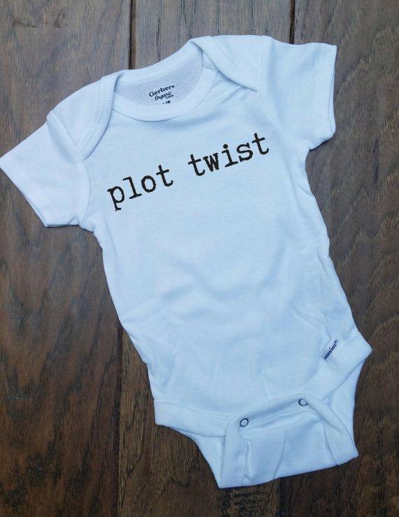 b9d046fc3 New born gift onesie bodysuit Plot Twist, printed Onesie, baby shower gift  Onesie, funny baby gift,