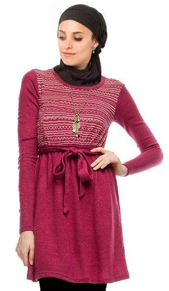 Fiona Long purple Embroidered Knit Dress | Islamic Clothing at Artizara.com