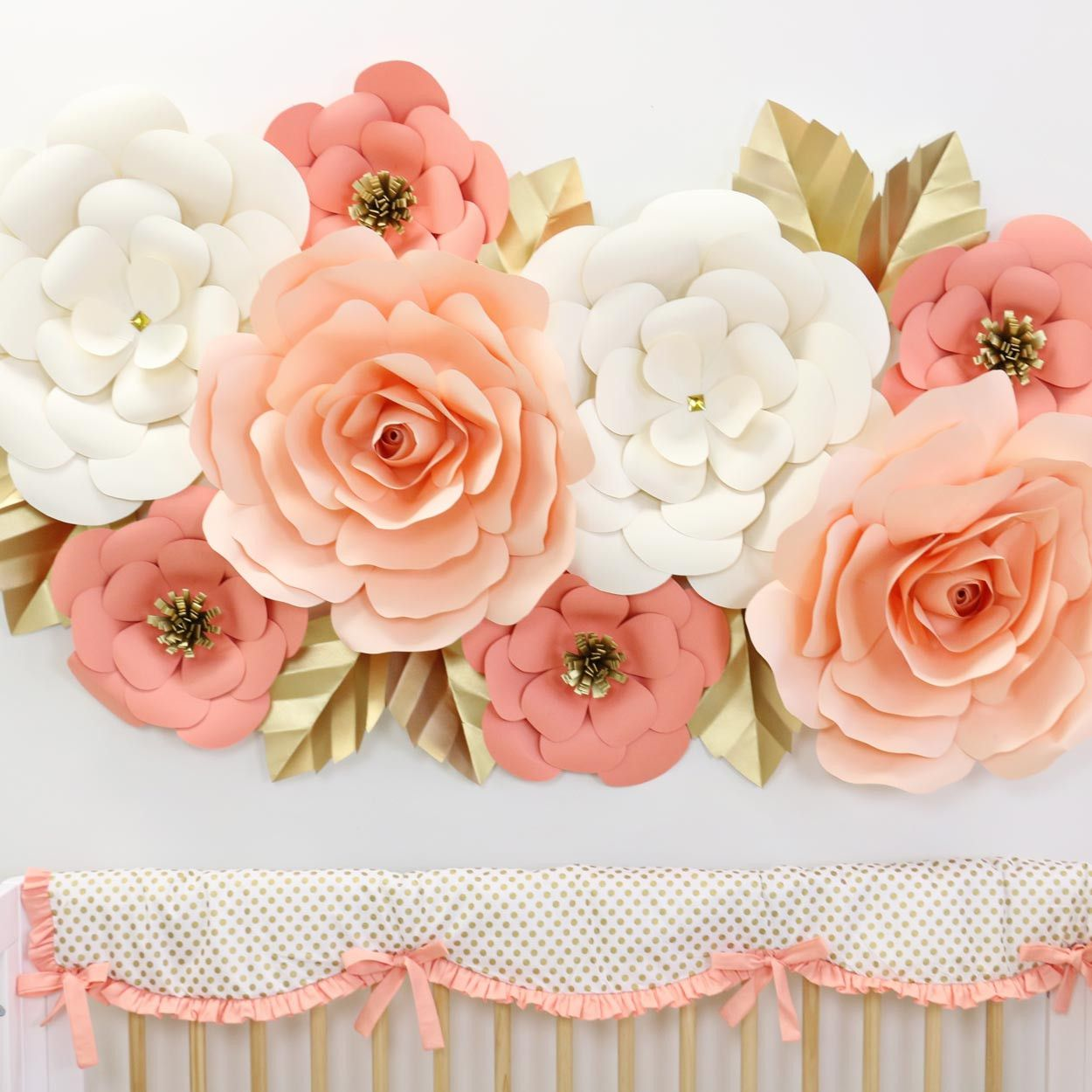 Coral Peach Cream And Gold Large Paper Wall Flower Set For