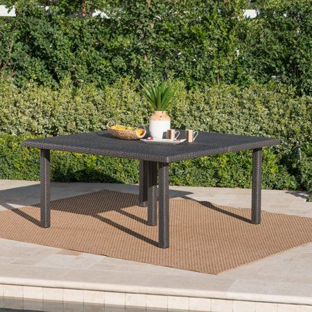 dennis outdoor 64 inch wicker square dining table grey gray rh pinterest com