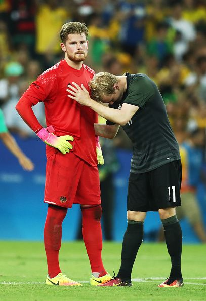 Timo Horn Of Germany And Team Mate Julian Brandt Of Germany React After Losing Julian Brandt Rio 2016 Rio Olympics 2016