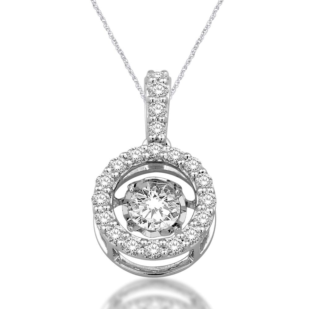 K white gold cttw moving diamond pendant