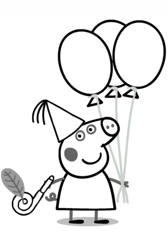 Peppa Pig with Ballons coloring page from Peppa Pig category. Select ...